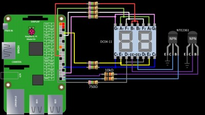 Wiring for 7 segment LED display using PWM