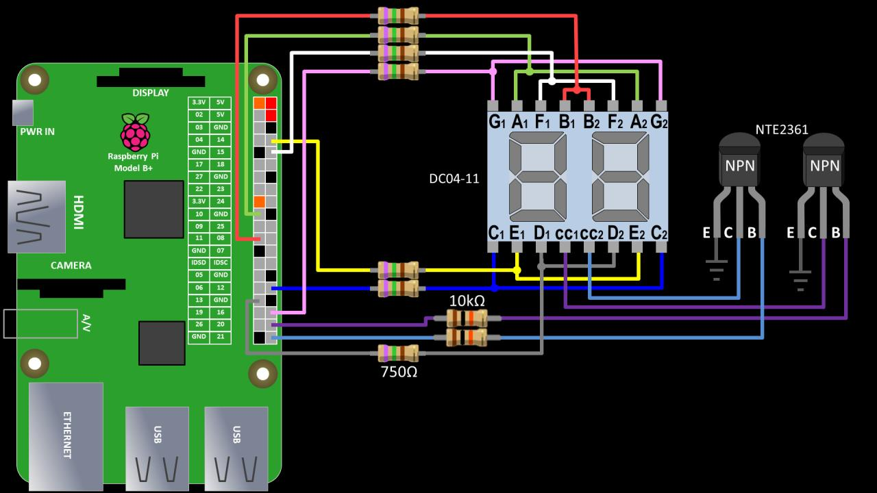 7 Segment Led Tutorial For Raspberry Pi Rototron Display Circuit Diagram Wiring Using Pwm