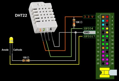 DHT22 Wiring with LED