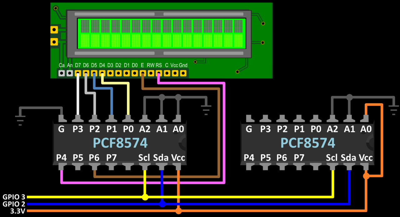 Using An Ic Lcd Display With A Raspberry Pi Rototron Wiringpi Serial C Pcf8574 Wiring Additional Chip